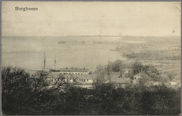 A greeting from Borghamn: View over Borghamn on Lake Vättern, 1909. Foto: Jvm.KCAC12384