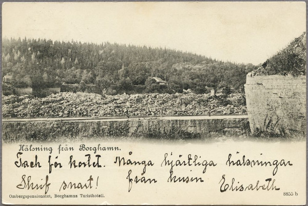 Greetings from Borghamn: Ombergspensionatet (Borghamns Touristhotel), 1900. Foto: Jvm.KCAC12383