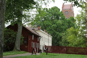 Monk's Garden with Pilgrimage Centre, Red Tower in background. Photo: Bernd Beckmann
